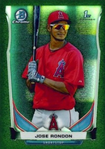 2014 Bowman Chrome Baseball Prospects Green Refractor