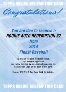 2014 Topps Finest Baseball Rookie Autograph Redemptions Revealed 1