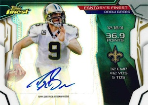 2014 Topps Finest Football Fantasy's Finest Autograph Drew Brees