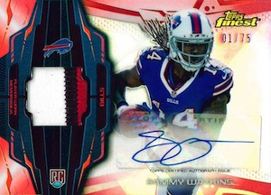 2014 Topps Finest Football Rookie Refractor Autographed Patch Red Sammy Watkins