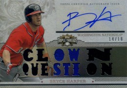 2014 Topps Triple Threads Auto Patch Bryce Harper Clown Question