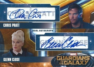 2014 Upper Deck Guardians of the Galaxy Dual Actor Autographs Chris Pratt Glenn Close