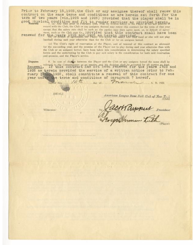 Babe ruth contract-8793