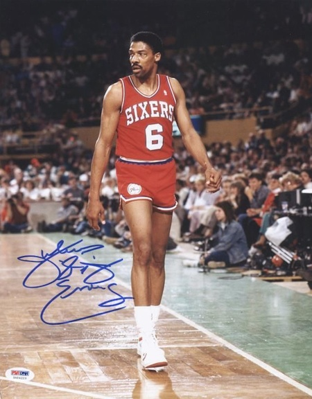 Philadelphia 76ers Signed Julius Erving Photograph