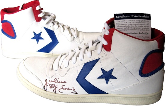Philadelphia 76ers Signed Julius Erving Shoes