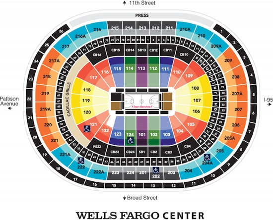 Philadelphia 76ers Wells Fargo Center Seating Chart