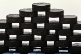St Loois Blues Signed Pucks