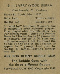 1948 Bowman Baseball Yogi Berra Back