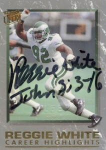 1992 Ultrac Career Highlights Autograph Reggie White #7