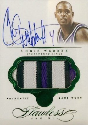2013-14 Panini Flawless Basketball Autographed Patches Chris Webber