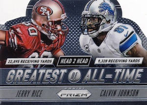 2014 Panini Prizm Football Head 2 Head Greatest of All-Time Jerry Rice Calvin Johnson