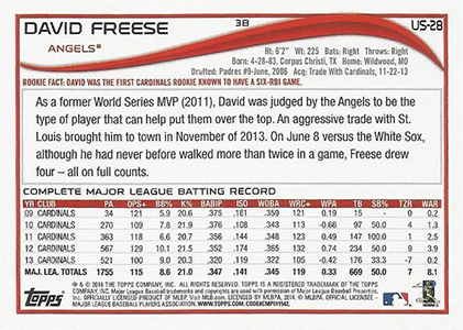 2014 Topps Update Sabermetric Variation US-28 David Freese