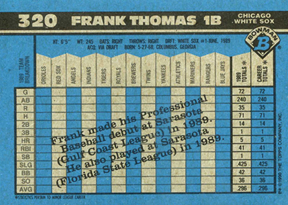 1990 Bowman Baseball Frank Thomas RC Back