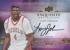 2013-14 Upper Deck Exquisite Collection Basketball Exquisite Signatures Larry Johnson