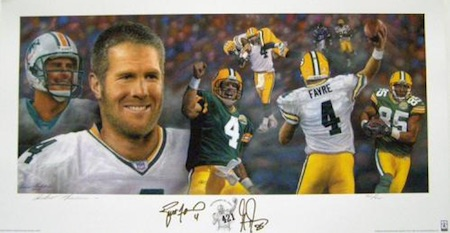 Brett Favre, Greg Jennings Green Bay Packers Signed Lithograph