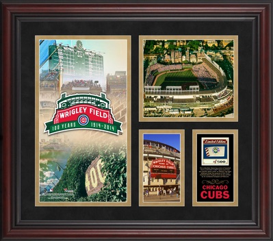 Chicago Cubs Framed 100th Anniversary Collage with Game-Used Baseball