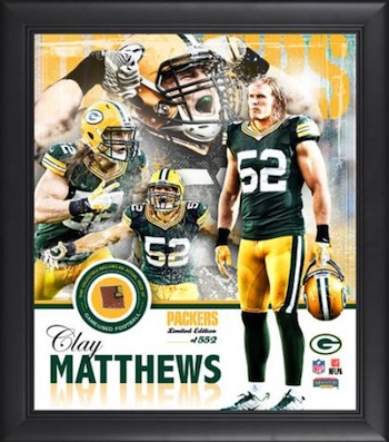 Clay Matthews Green Bay Packers Framed Collage with Game-Used Football Piece