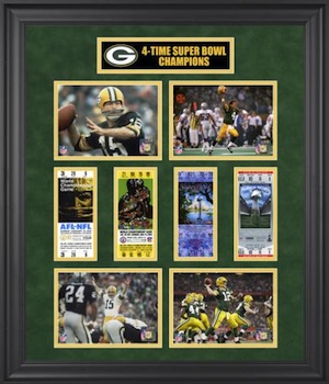 Green Bay Packers Framed Super Bowl Ticket Collage