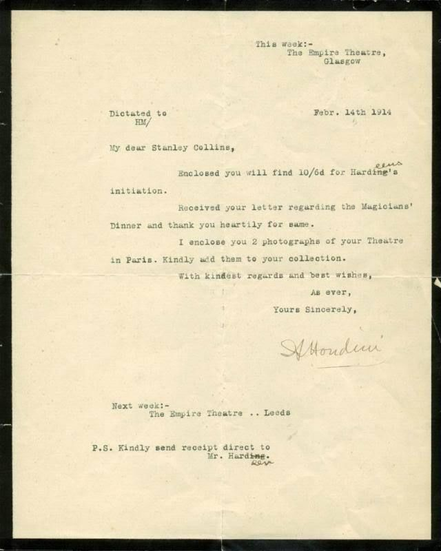 Harry Houdini Signed Letter