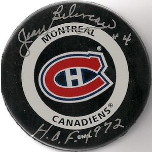 Jean Beliveau Montreal Canadiens Signed Puck