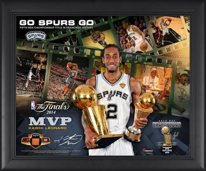 Kawhi Leonard San Antonio Spurs Framed Finals MVP Photo with Game-Used Piece of Basketball