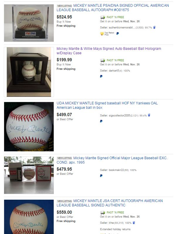 Mickey Mantle Autographed Baseball Listings on eBay