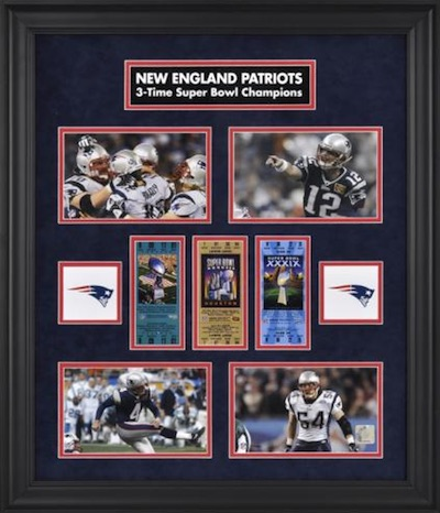 New England Patriots Framed Replica Super Bowl Ticket Collage