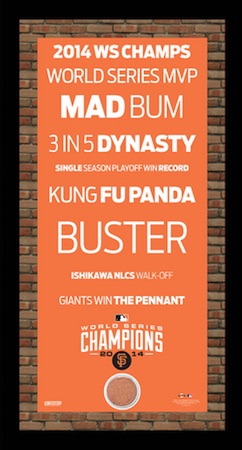 San Francisco Giants Framed Subway Sign with Game-Used Dirt 2014 World Series