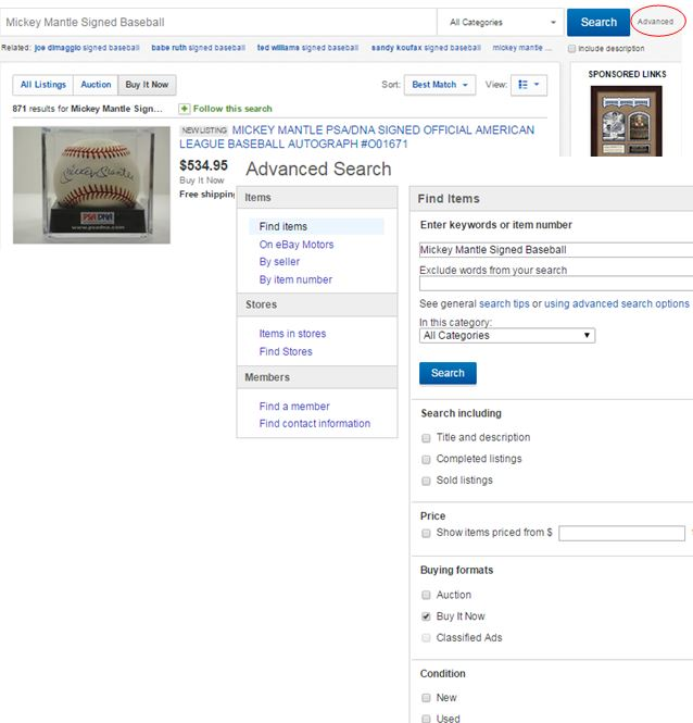eBay Advanced Searches
