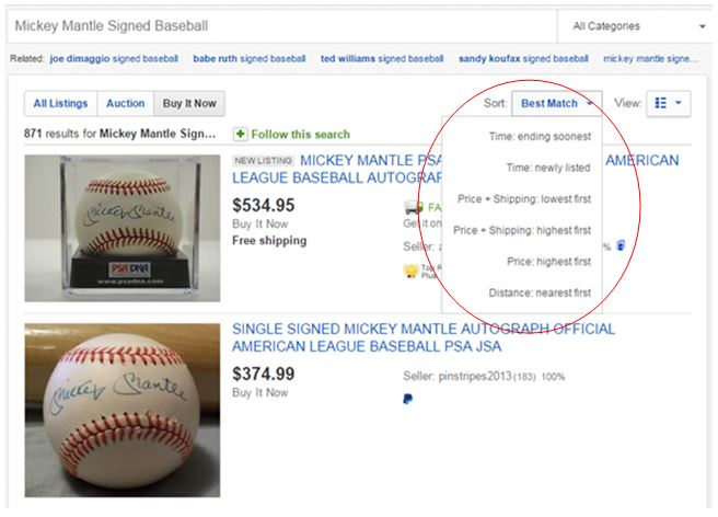 eBay Search Filters