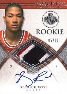 2008-09 Exquisite Derrick Rose RC #92 Autographed Jersey