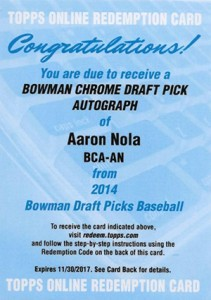 2014 Bowman Chrome Draft Autos Aaron Nola Redemption