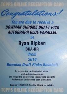 2014 Bowman Chrome Draft Autos Ryan Ripken Redemption Blue