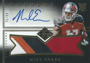 2014 Limited Mike Evans RC #195 Autographed Jersey