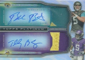 2014 Topps Platinum Football Dual Autographed Patch Bortles Bridgewater
