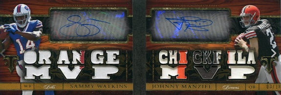 2014 Topps Triple Threads Football Autographed Relic Pairs Manziel Watkins
