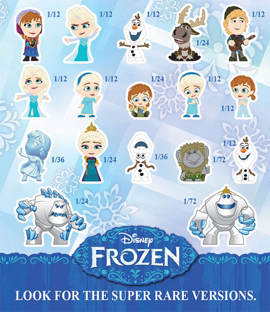2015 Funko Frozen Mystery Minis rarity scale