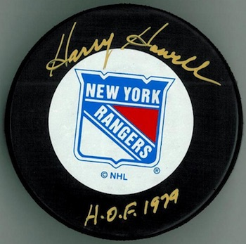 Harry Howell New York Rangers Signed Puck