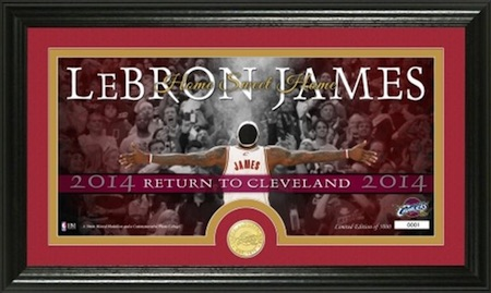 LeBron James Cleveland Cavaliers Framed Panoramic Photo Coin