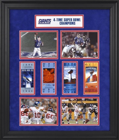 New York Giants Framed Replica Super Bowl Ticket Collage