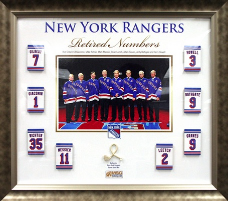 New York Rangers Framed Retired Numbers Collage