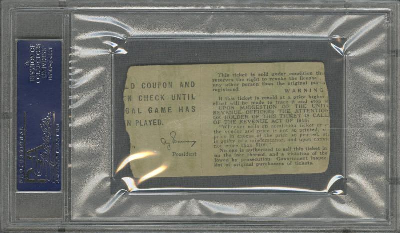 1919 World Series Ticket Stub Game 1 Reverse