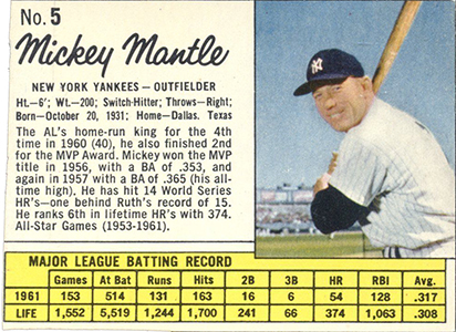 Comprehensive Guide to 1960s Mickey Mantle Cards 56