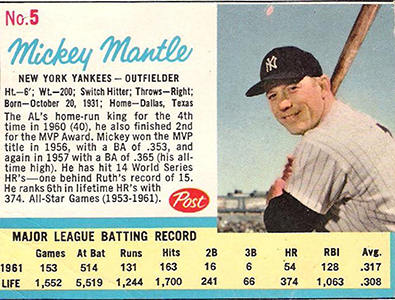 Comprehensive Guide to 1960s Mickey Mantle Cards 57