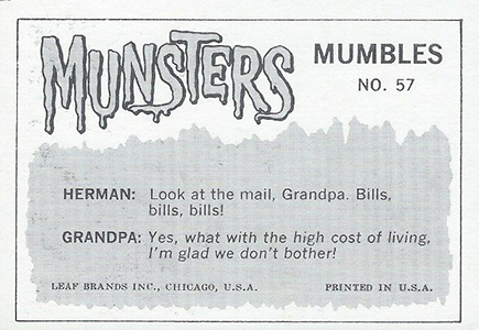 1964 Leaf The Munsters Base 57 Reverse