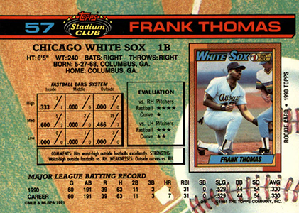 1991 Topps Stadium Club Baseball Frank Thomas Back