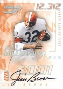 2001 Leaf Quantum All-Millennium Marks Autographs Jim Brown