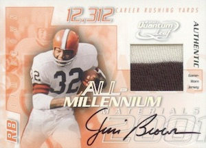 2001 Leaf Quantum All-Millennium Materials Autographs Jim Brown