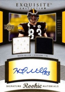 2005 Exquisite Heath Miller RC #99 Autographed Jersey
