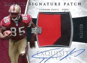 2006 Exquisite Vernon Davis RC #133 Autographed Patch